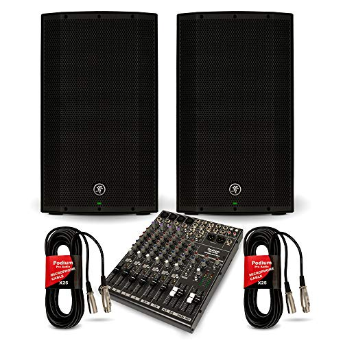 """Mackie THUMP12A Powered 12"""" Speakers and 12 Channel Mixer DJ PA Live Music Set"""