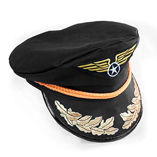 Airline Pilot Captains Hat - One Size with Adjustable Baseball Hat Snap Back - Costume Accessory - Fits Most Youth & Adults Black