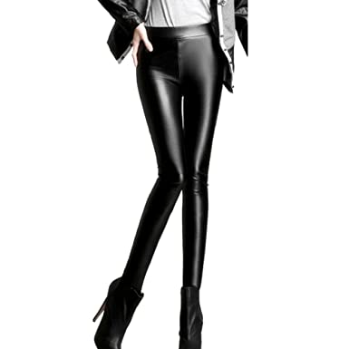 d0a8da812651c Laixing PU Leather High Waisted Plus Thick Velvet Leggings Plus Size  TL0802A: Amazon.co.uk: Clothing
