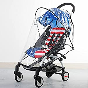MJ EZ4U Deluxe Stroller Weather Shield, Baby Rain Cover, Universal Size, Waterproof, Water Resistant, Windproof, See Thru, Ventilation, Clear, Plastic, Protection, Shade, Umbrella, Pram, Vinyl