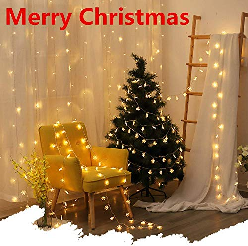 Christmas Decorations String Lights Warm White Snowflake LED Fairy Lights, 9.84 Feet 20 LED Waterproof String Lights 3AA Battery Powered for Outdoor Party Christmas Thanksgiving Decor (Warm White)