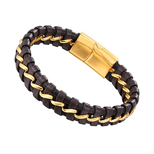 U7 Men's Brown Leather Bracelet with 18K Gold Plated Chain Magnetic Clasp 7.5 Inch - 8.3 Inch