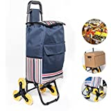 """LUCKUP Folding Shopping Cart, Stair Climbing Cart Grocery Laundry Utility Cart with Wheel Bearings Stainless Steel Frame (37""""x16""""x14, Deep Blue)"""