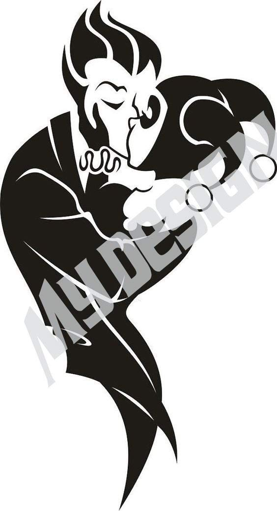 VALENTINES DAY SALE Harley Quinn and The Joker Decal 4in X 8in BLACK or WHITE