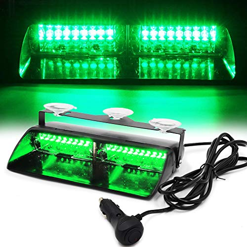 FOXCID LED Law Enforcement Emergency Hazard Warning Strobe Flashing Lights 16 LED High Intensity 18 Modes for Interior Roof Dash Windshield with Suction Cups (Green) ()