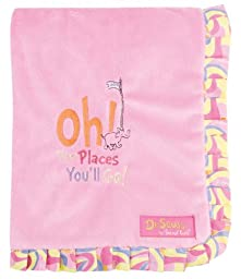Trend Lab Dr. Seuss Ruffle Trim Receiving Blanket, Oh! the Places You'll Go! Pink