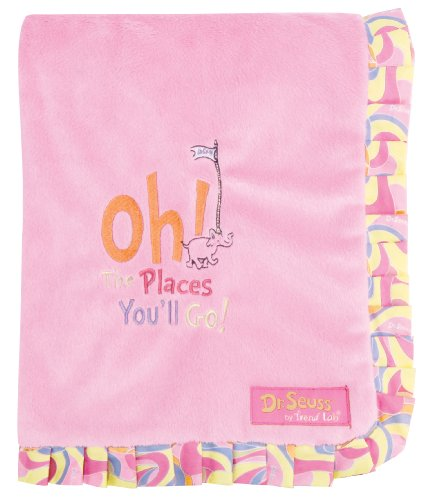 - Trend Lab Dr. Seuss Ruffle Trim Receiving Blanket, Oh! the Places You'll Go! Pink