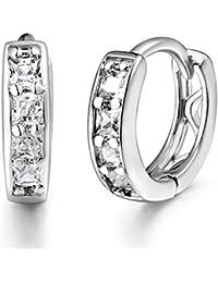 White Gold Plated Brass Hoops Huggie Earrings Princess Cut CZ Sleeper Earrings Diameter 14 mm