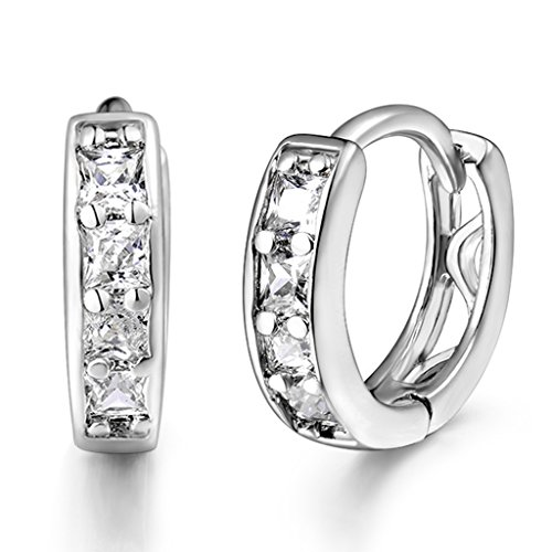 GULICX White Gold Plated Brass Hoops Huggie Earrings Princess Cut CZ Sleeper Earrings Diameter 14 mm