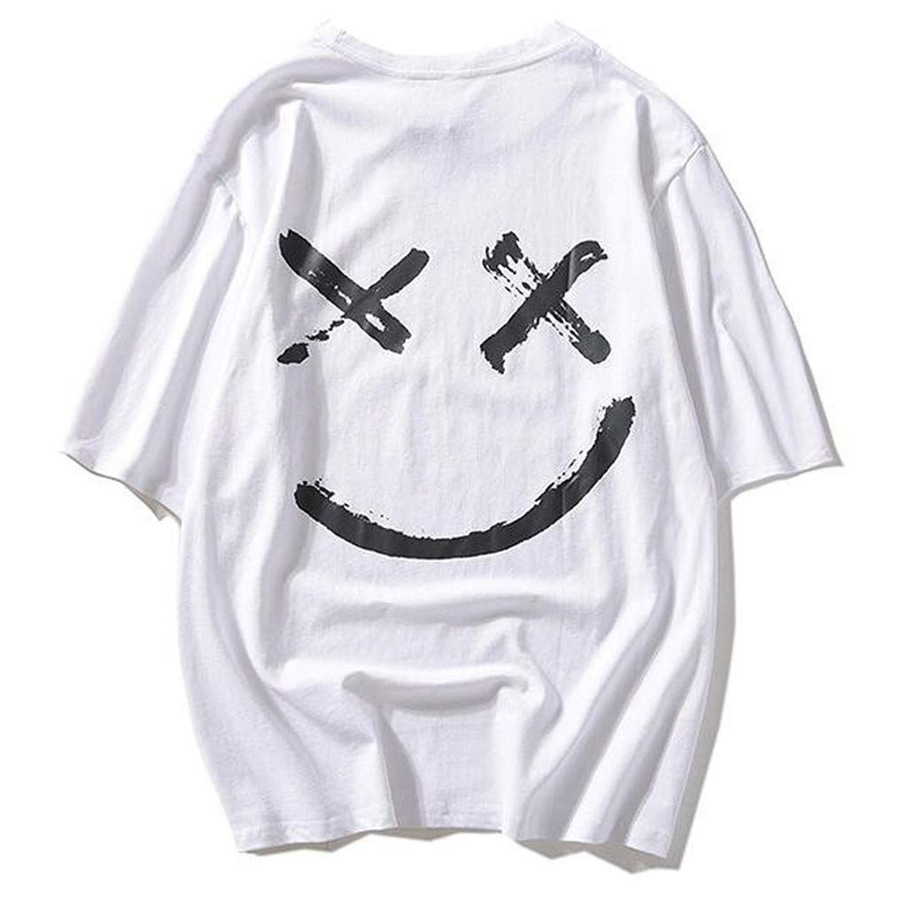 Jiayit Smiling Face Tee Shirts for Men Teen Boy Unisex Casual Letter Printed Casual Daily Short Sleeve Hip-hop Streetwear Top Blouse T-Shirt (S, White)