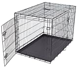 Internet's Best Double Door Steel Crates Collapsible and Foldable Wire Dog Kennel, 42 Inch (Large), Black