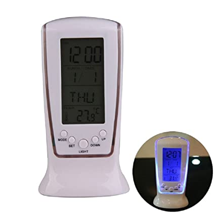 De proyección reloj despertador con LED luz nocturna, repetición de alarma, batería de emergencia