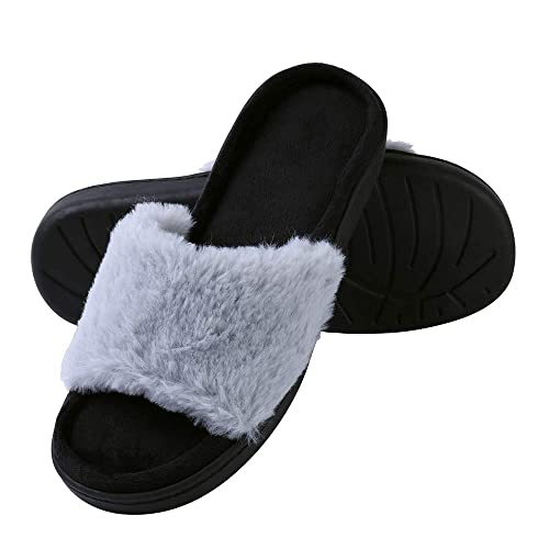 1d68271da8f6 Aerusi Faux Fur Fluffy Plush Single Strap Flat Open Toe Slide On Slipper  Sandals (Size