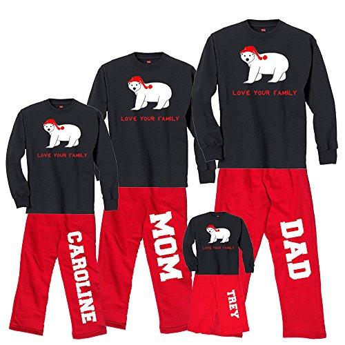 Personalized Christmas Polar Bear Black Shirt Pant Set - Adult XL, L/S, Red Pants (150)