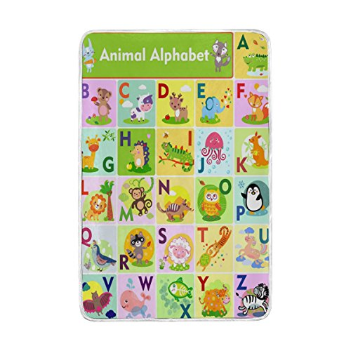 ALAZA Home Decor Cute Animal Alphabet Blanket Soft Warm Blankets for Bed Couch Sofa Lightweight Travelling Camping 90 x 60 Inch Twin Size for Kids Boys Girls