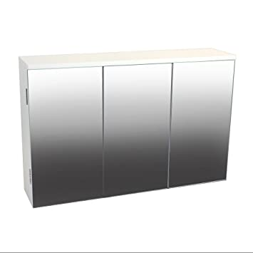 White Mirrored 3 Door Bathroom Cabinet