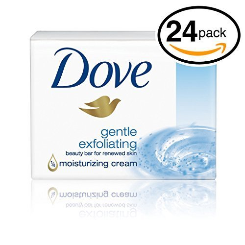 (PACK OF 24 BARS) Dove Beauty Soap Bar: GENTLE EXFOLIATING. Removes Dead Skin & Leaves You with a Fresh Radiant Glow! 25% MOISTURIZING LOTION! Great for Hands, Face & Body! (24 Bars, 3.5oz Each Bar) Review