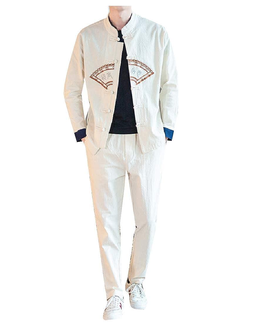 Abetteric Mens Linen Oversized 2 Piece Set Relaxed-Fit Tang Suit Sweatsuit Set