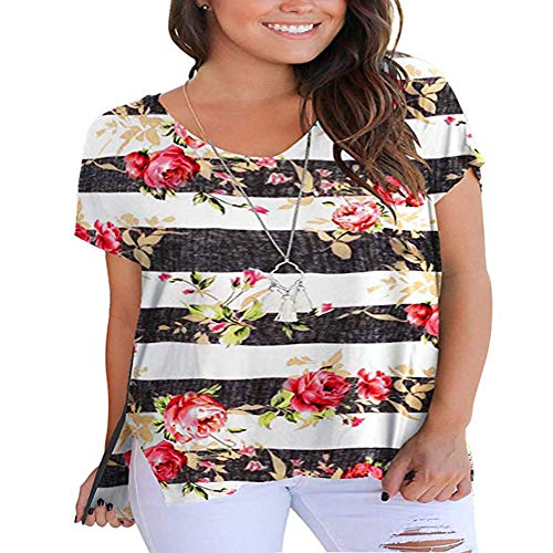 YASAKO Womens Tops Plus Size V Neck Floral Casual Tunics High Low Shirts with Side Split Loose T Shirt