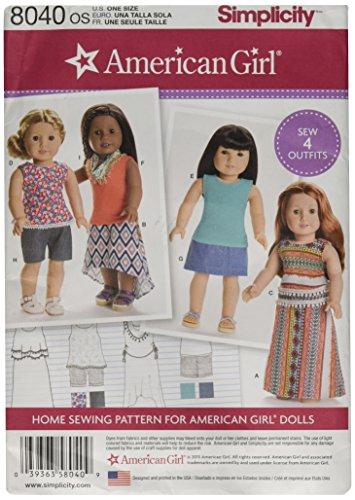Simplicity Creative Patterns US8040OS American Girl Doll Clothes for 18 Inch Doll Size: Os (One Size), 8040