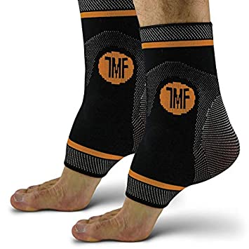 05a53cf2af Pair of Copper Infused Compression Ankle Brace, Silicone Ankle Support  w/Anti-Microbial