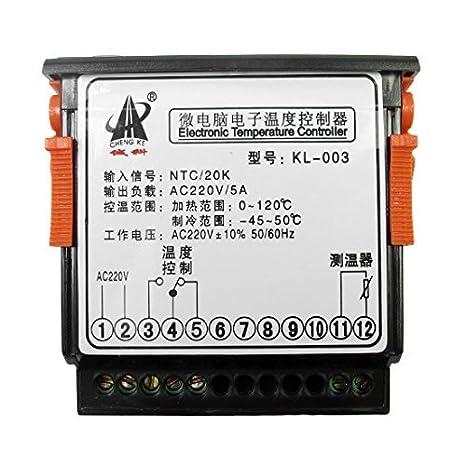 eDealMax CA 220V Termostato Digital controlador de temperatura KL 003 con el cable del sensor