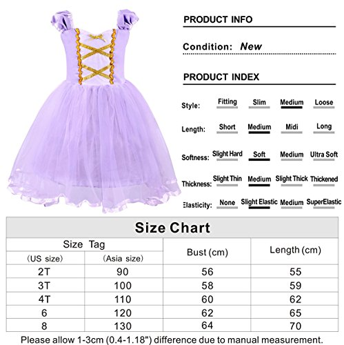 Cotrio Girls Princess Rapunzel Dress up Costume Halloween Cosplay Fancy Party Dresses Size 4T (110, Rapunzel Tutu Dress) by Cotrio (Image #4)