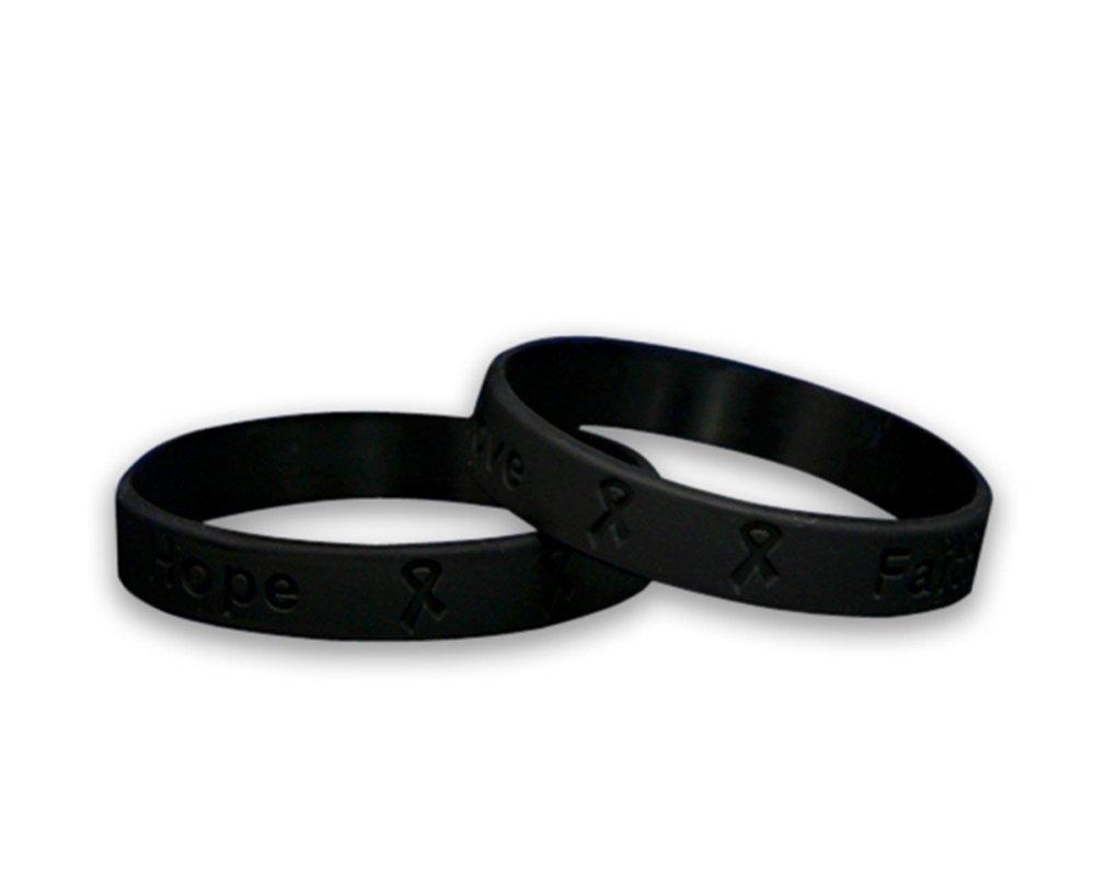 50 Awareness Silicone Bracelets (Wholesale Pack - 50 Bracelets) (Black)