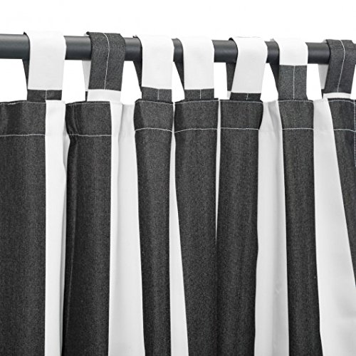 Pawleys Island Hammocks Cabana Black Sunbrella Outdoor Curtain With Tabs (50 x 108) by Pawleys Island Hammocks