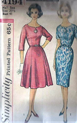 Simplicity 4194 Vintage Sewing Pattern Slenderette Dart Fitted Bodice with Pointed Button Neckline Center Tab, and Slim or Gathered Attached (Attached Tab)