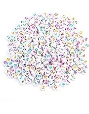 Hilitand 500 unids 7 Colores Granos de la Letra de acrílico A-Z Granos Redondos del Alfabeto para DIY Collar de la Pulsera para los Juguetes Hechos a Mano de los niños