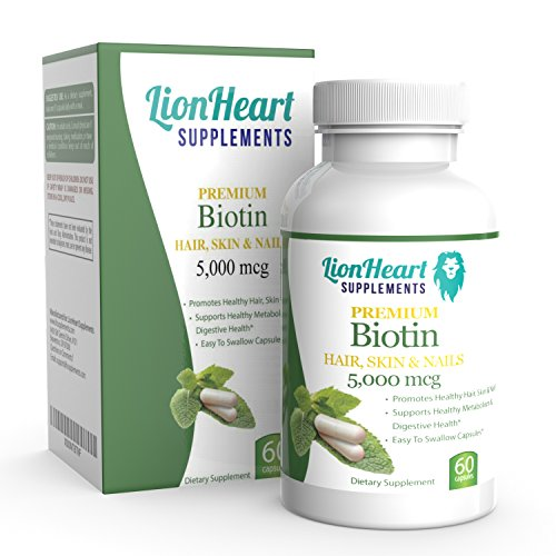 NUMBER 1 RATED BIOTIN 5000 MCG, Fast HAIR GROWTH for Women Suffering from Hair Loss, Repair Scalp Quick in 30 days have Healthy Sexy Hair, Glowing Skin and Stronger Nails, 60 Veggie Capsules, USA