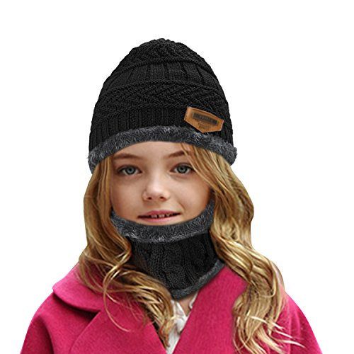 muco Kids Winter Hat Warm Thick Beanie Cap Scarf For Boys Girls Knit Outdoors Ski Beanies by muco (Image #2)