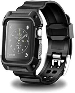 RockTec For Apple Watch Band 38mm,Heavy Duty Protective Case With Silicone Strap Replacement for Apple Watch Series 3, Series 2, Series 1, Sport Edition (Black, 38mm)