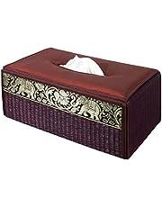 Funda para caja de pañuelos de trenzado de caña hecha con materiales sostenibles y ecológicos y un exquisito ribete de seda.