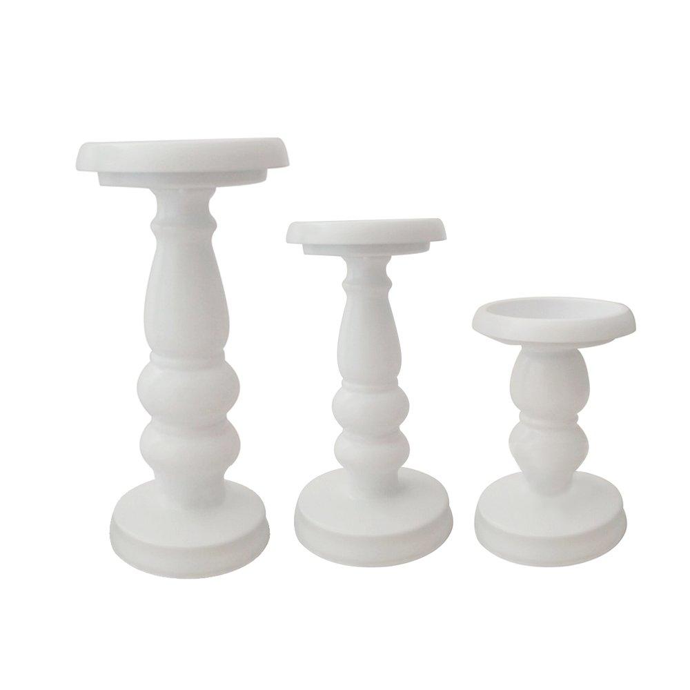 White Metal Pillar Candle Holder - Set of 3