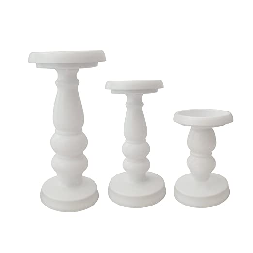 Christmas Tablescape Decor - A white metal pillar candle holder set of 3