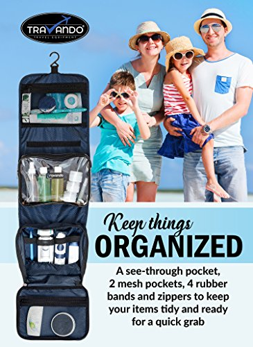 TRAVANDO Hanging Toiletry Bag ''FLEXI'' + 7 Containers for Liquids   Travel Set for Men and Women   Toiletry Kit for Cosmetics, Makeup   Toilet Organiser Suitcase Roll Wash Bag by TRAVANDO (Image #2)
