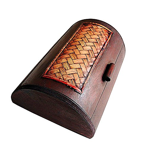 Ren Handcraft Vintage Handmade Hinged Wooden Trinket Box Wedding Memory Gift Container Travel Keepsake Box with Weave Decoration from Ren Handcraft