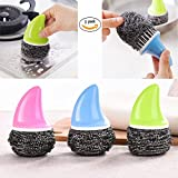 knife scrubber - 3pcs Stainless Sponges Scrubbers Steel Wire Brush for Pan Dish Pot Sharks
