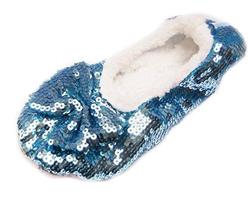 Snoozies Zapatillas Bailarina Bling pie Revestimientos. Antideslizante. Bling Blue