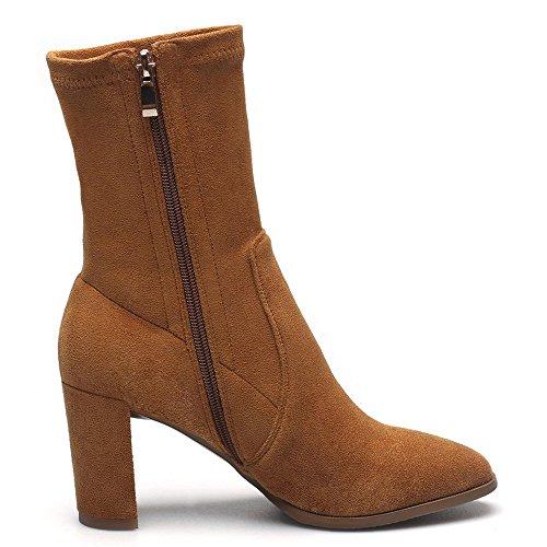 Boots Handmade Women's Leather Comfort Block Sexy Seven Nine Mid Calf Suede Heel Round Toe Brown OqUcz8