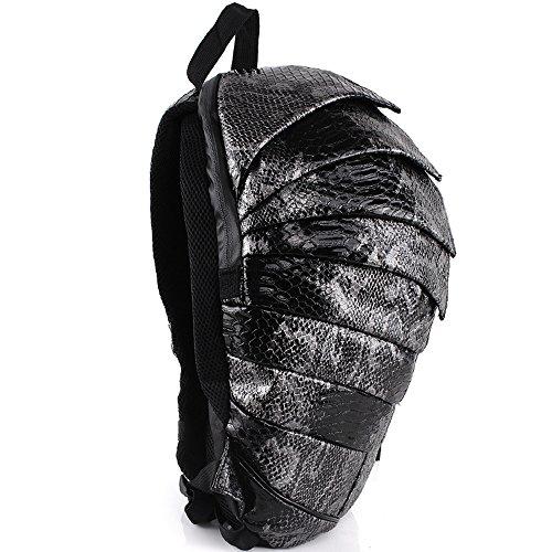 Tinksky® Creative Punk Beetle Snakeskin Grain Waterproof Backpack Shoulders Bag (Black)