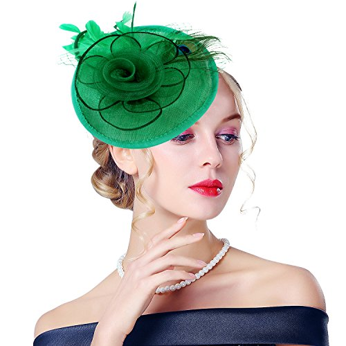 Edith qi Lady Retro Peacock Cocktail Fascinators Sinamay Derby Hats for Wedding (Eh Halloween Party)