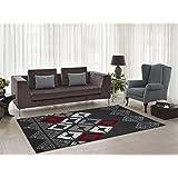 "Flash Grey Geometric Area Rug Modern Contemporary Soft Rug Living Room Hallway (5'2"" x 7'5"")"