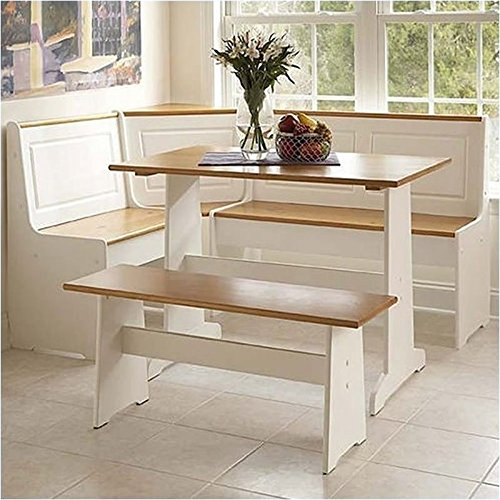 Pemberly Row Breakfast Corner Nook Table Set in White (Storage Bench Breakfast Nook)
