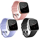 Vancle Band Compatible with Fitbit Versa Bands 3 Pack, Classic Accessories Replacement Wristbands for Fitbit Versa Smartwatch (Peach-Pink, Periwinkle, Black, Large)