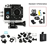 Mengshen 4K Ultra HD Sports Action Camera, 30M Water Resistant Wifi Cameras with 170 Wide-Angle Lens/2.0 Inch Screen for Outdoor Sports Activities(Include 6 Extra Accessories) Q3HSMei Black