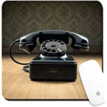 Luxlady Suqare Mousepad 8x8 Inch Mouse Pads/Mat design IMAGE ID 30940338 Black 1950s style phone on hardwood floor and vintage wallpaper on background