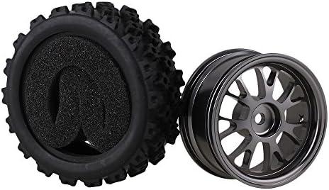 MxfansブラックフラワーパターンRubber Tyres +チタンカラーy-shapeアルミ合金ホイールリムfor RC 1: 10オンロードレーシング車のセット4